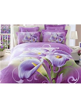 Purple Calla Lily Print 4-Piece Cotton Duvet Cover Sets
