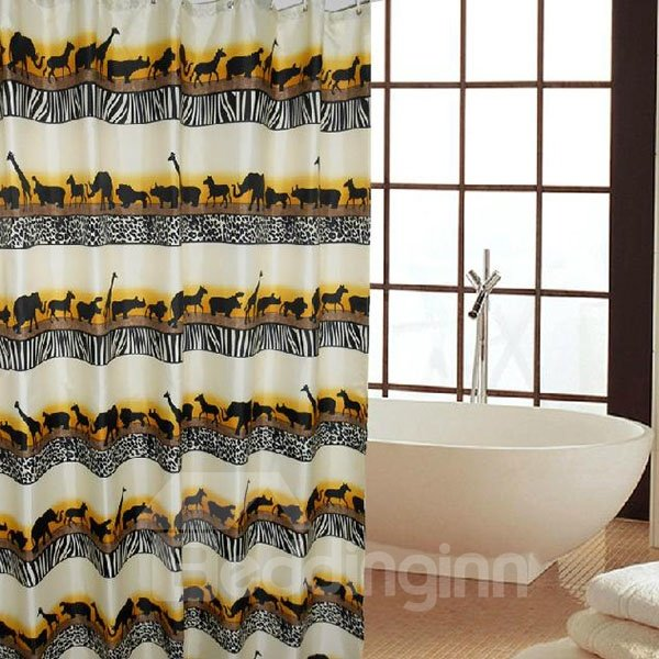 Unique Cool Animals Migrate Print Shower Curtain