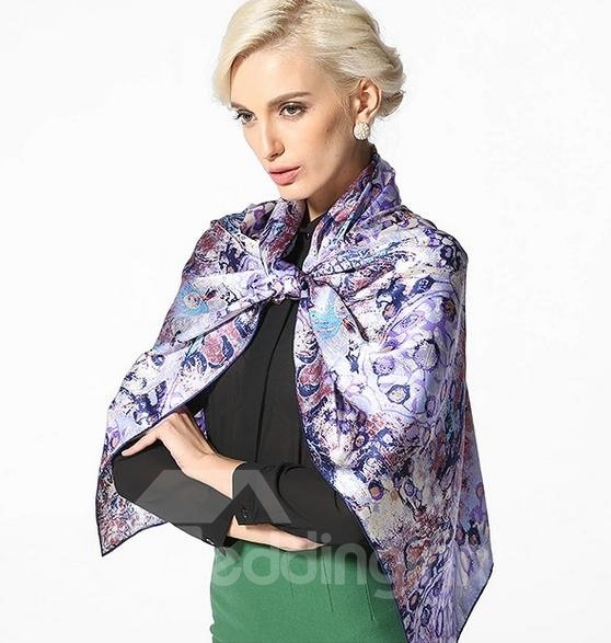 Purple Floral And Leapord Pattern Long Mulberry Silk Scarf