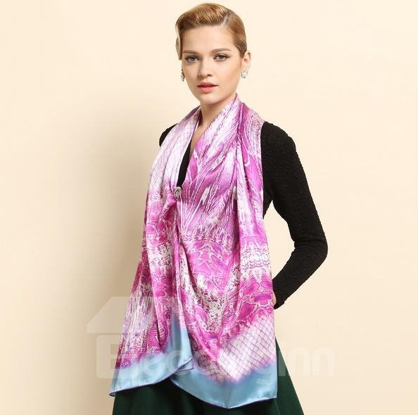 Light Purple  Animal Skin Print Long Mulberry Silk Scarf