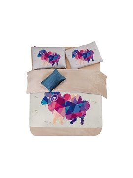 Colorful Goat Print 3-Piece Coral Fleece Duvet Cover Sets