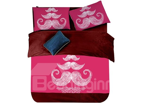 Funny Moustache Print 4-Piece Coral Fleece Duvet Cover Sets