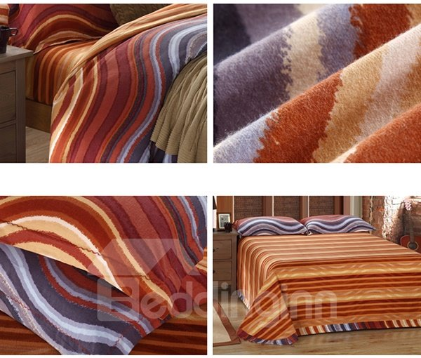 Colorful Waves Pattern 4-Piece Carla Velvet Duvet Cover Sets