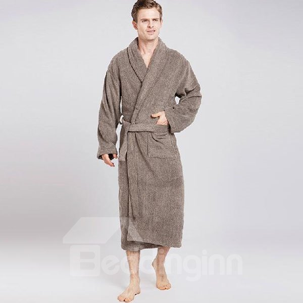 Classic Solid Color Full Cotton High Quality Male Bathrobe