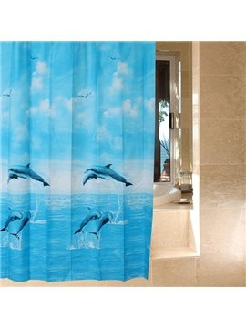Dynamic Jumping Dolphin Print Blue Shower Curtain
