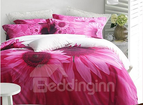 Charming Sunflower Print 4-Piece 100% Cotton Duvet Cover Sets