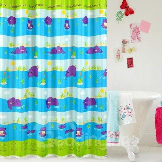 High Quality Cartoon Hippo Print Shower Curtain
