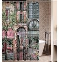Retro European Corner Coffee House Print Shower Curtain