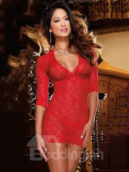Enthusiast Red Lace Floral Pattern Sleepshirt and Pantie Set
