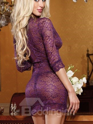 Super Sexy Purple Lace Sleepshirt and Pantie Set