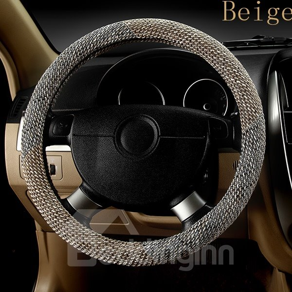 Environmental Friendly High Quality Flax Material Comfortable Steering Wheel Cover