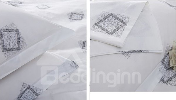 Diamond Pattern with White Background 4-Piece 100% Cotton Duvet Cover Sets