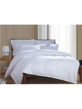 Comfortable Pure White 4-Piece 100% Cotton Duvet Cover Sets
