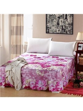 Excellent Pink Blooming Flowers Pattern Comfortable Bed Skirt