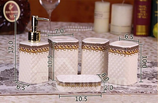 European Luxury Hand-painted Ceramic White 5-piece Bath Accessories