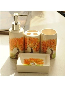 Attractive Graceful Maple Ceramic 4-piece Bath Accessories