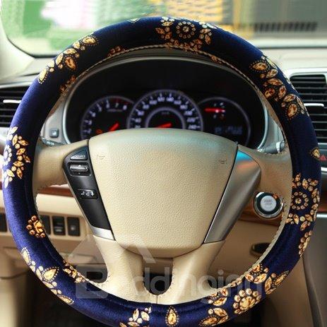 Beautiful Golden Flowers Pattern Royal Blue Pleuche Steering Wheel Cover