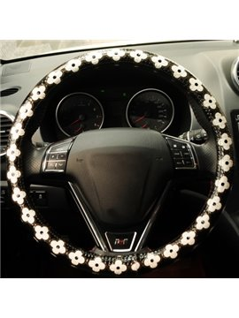 Fresh Cool White Flowers Pattern Black Steering Wheel Cover