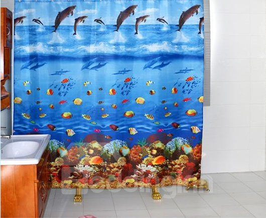 Dynamic Blue Ocean World Dacron Shower Curtain