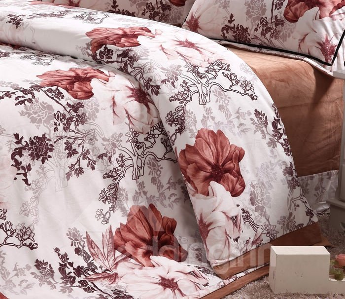 Amazing Red Flower Print 4-Piece Coral Fleece Duvet Cover Sets