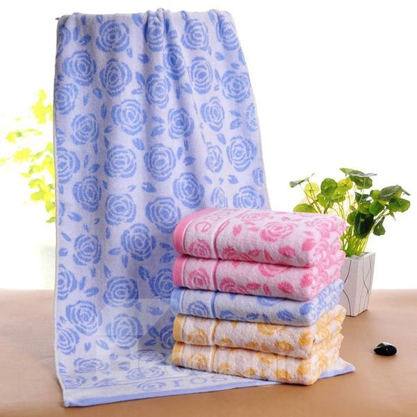 Romantic Peony Jacquard Thick Cotton Bath Towel