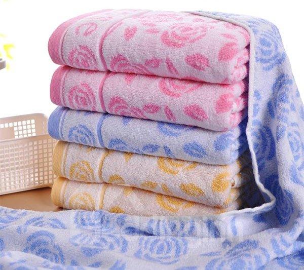 Romantic Peony Jacquard Thick Cotton Bath Towel