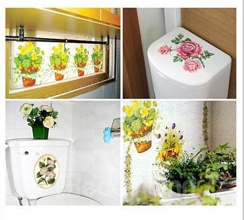 Fantastic Waterproof Flower Basket Wall Stickers