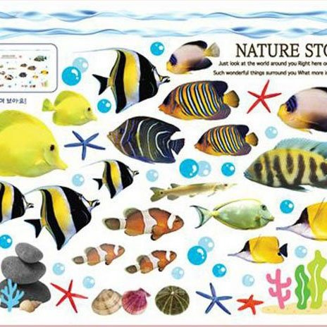 Wonderful Pretty Goldfish Underwater World Wall Stickers