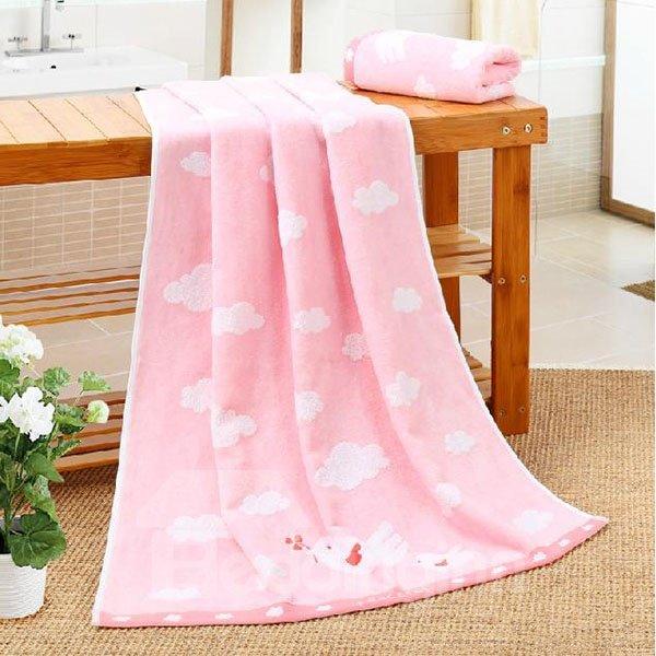 Adorable Birds White Cloud Soft Bath Towel