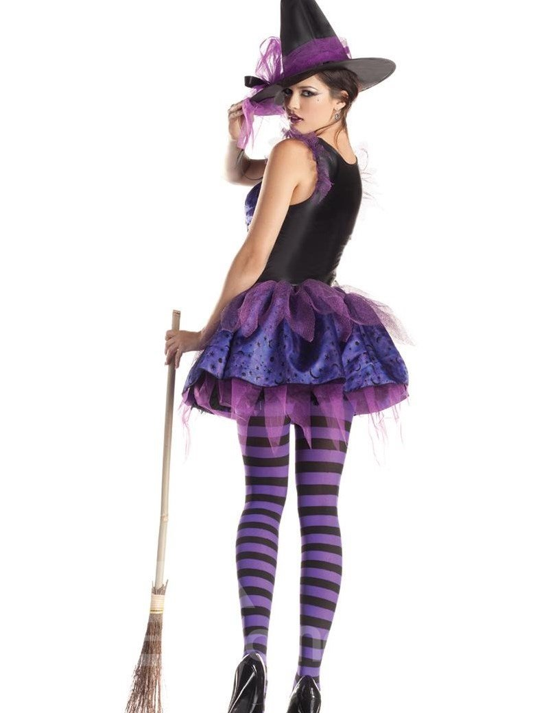 Sexy Purple Witch Hat With Skirt 2 Pieces Costume