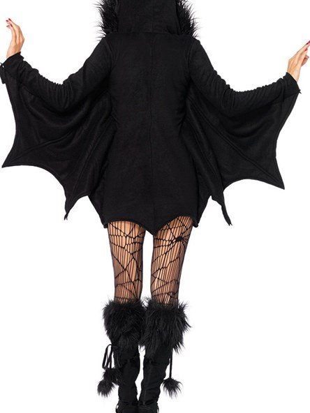 Mysterious Black Bat Convenient Zipper Front Costume