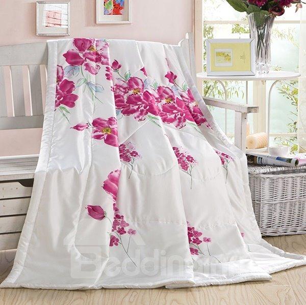 Pink Blooming Sakura Painting Two Sides Silk Quilt