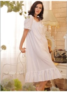 High Quality Comfy Cotton Doll Bust Ruffle Hem Short Sleeves Nightgown