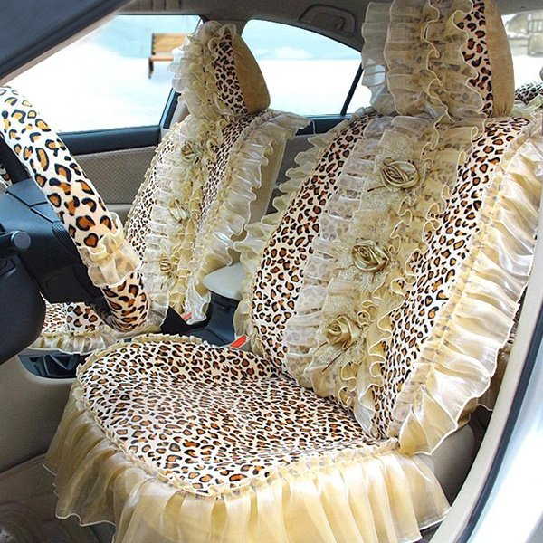 Amazing Wonderful Leopard and Beige Lace Flowers Pattern Comfortable Car Seat Cover