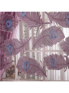 Romantic Flying Purple Peacock Feather Printing Custom Sheer Curtain