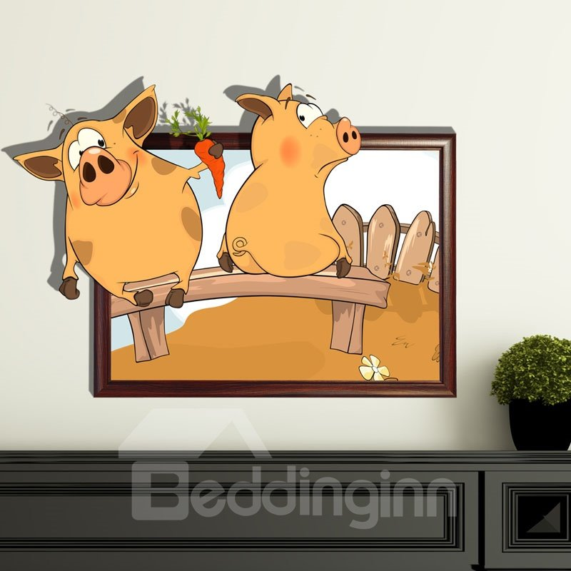 New Style Wonderful Lovely Pig 3D Wall Sticker  beddinginn