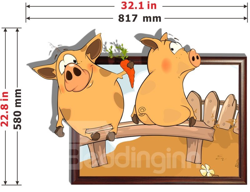 New Style Wonderful Lovely Pig 3D Wall Sticker
