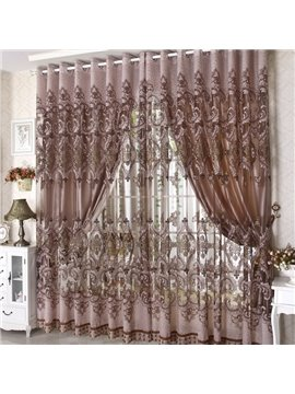 Coffee Color Phoenix Pattern Custom Sheer Curtain