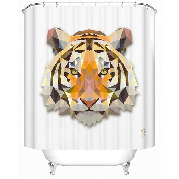 3D Tiger Head Printed Polyester White Shower Curtain
