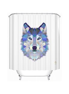 Cool 3D Prismatic Wolf Polyester Shower Curtain