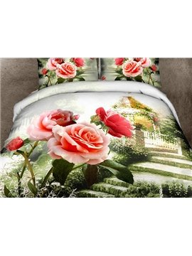 Beautiful Rose Garden Print 4-Piece Cotton Duvet Cover Sets