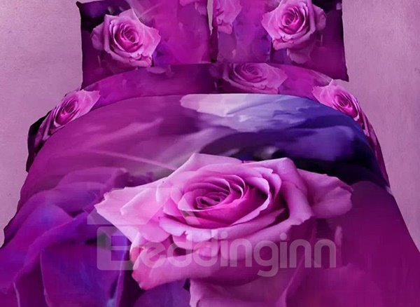 Purple Rose Flower Oil Painting 4-Piece Cotton Duvet Cover Sets