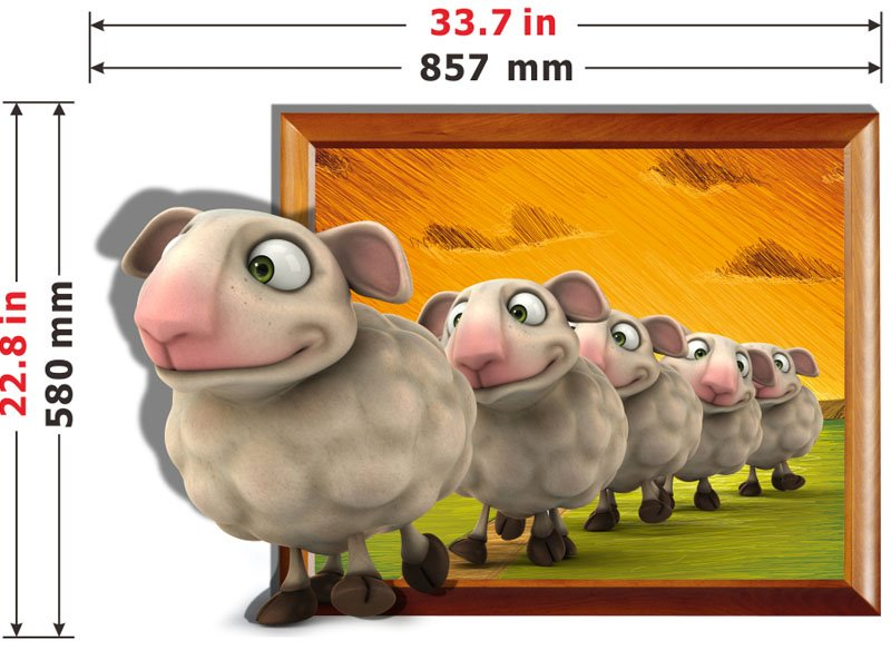 Wonderful Line Up the Little Sheep 3D Wall Sticker