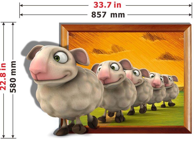 Wonderful Line Up the Little Sheep 3D Wall Sticker