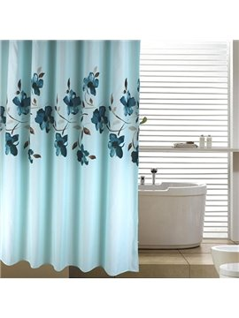 Fnacy Graceful Orchid Jacquard Blue Shower Curtain