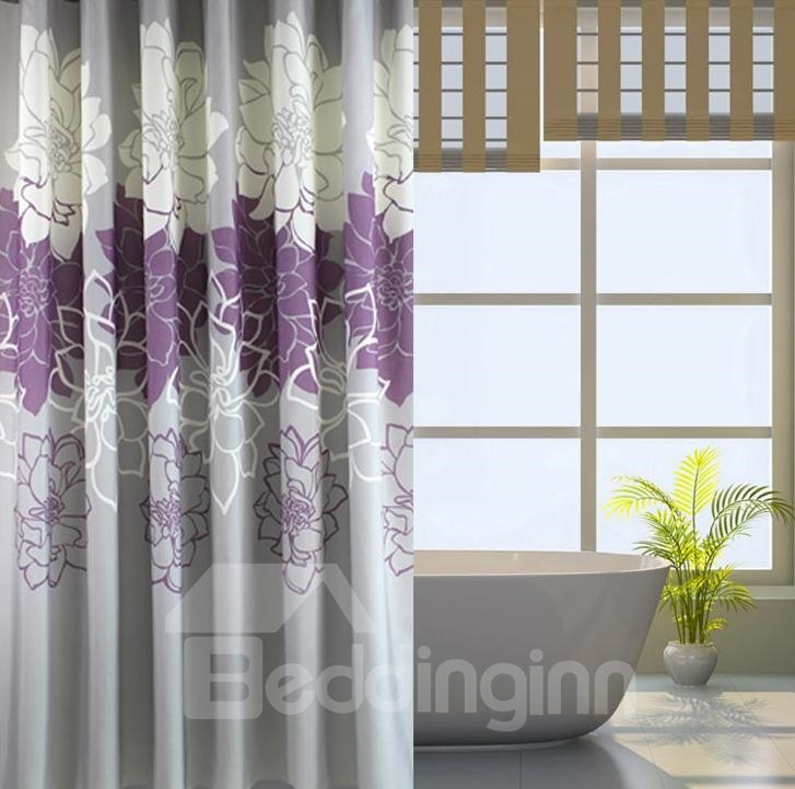 Waterproof White and Purple Peonies Printed Polyester Shower Curtain