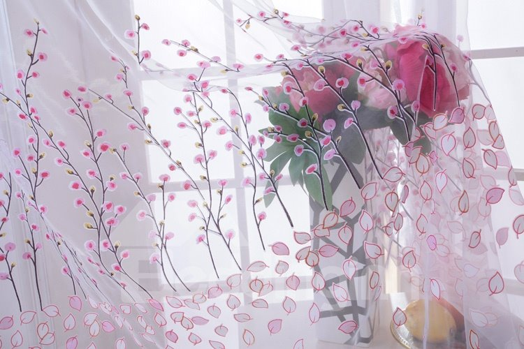 Decorative Beautiful Pink Peach Blossoms Printing Romantic Style 2 Panels Sheer Curtain