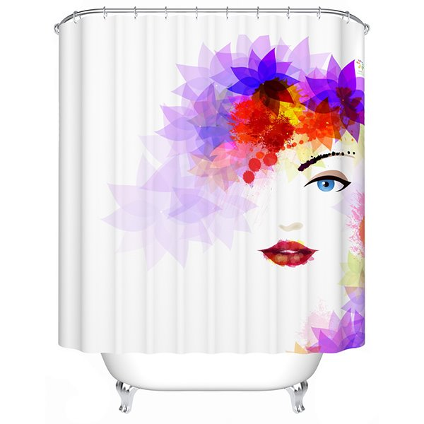Artistic Chic Modern Girl Polyester Shower Curtain