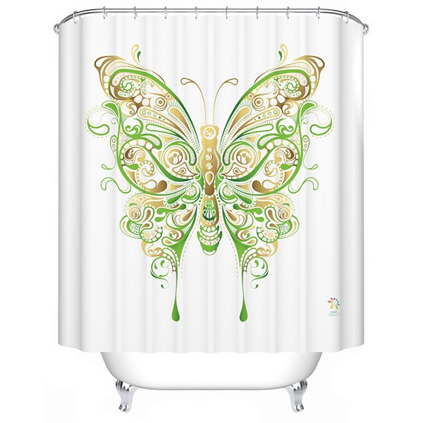Aesthetic Attractive Green Butterfly Print Shower Curtain