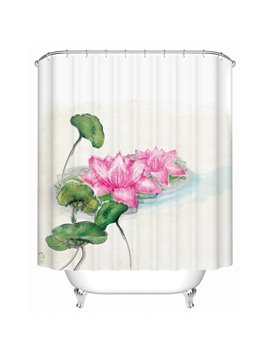 Chinoiserie Fancy Graceful Lotus Print Shower Curtain